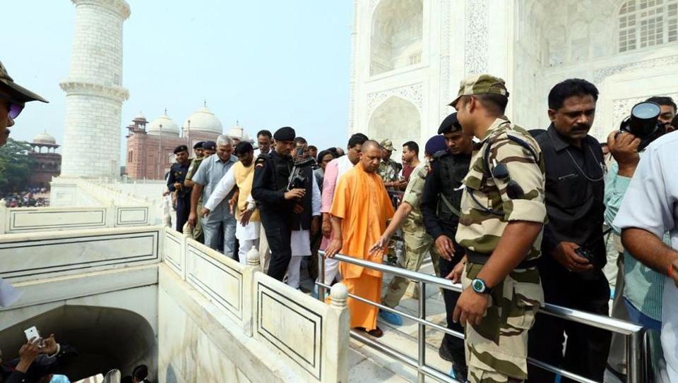UPCMYogiAdityanath visits the Taj Mahal on Thursday.