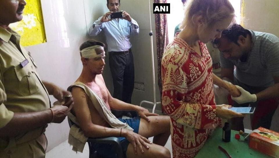 The Swiss couple that was attacked with stones and sticks by a group of men in Fatehpur Sikri on Sunday.