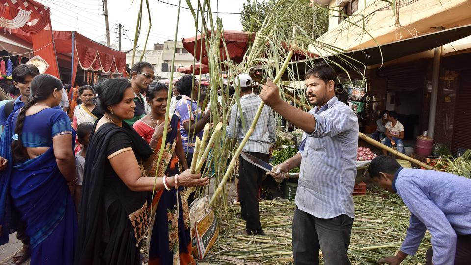 Devotees shopping for Chhath Puja at a market in Gurgaon.