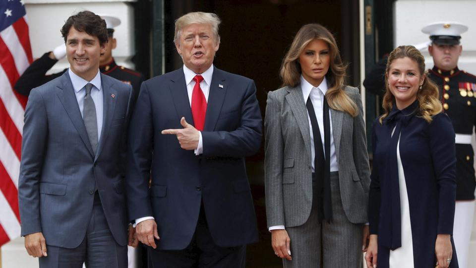 (L to R): Canadian Prime Minister Justin Trudeau, US President Donald Trump, US First Lady Melania Trump and Sophie Gregoire Trudeau, wife of Justin Trudeau, at White House, Washington, October 11