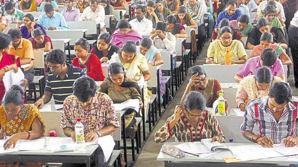 Candidates aspiring for a college teacher's job are appearing for the National Eligibility Test.