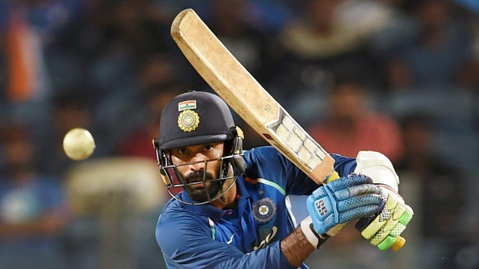 Dinesh Karthik in action during the second ODI against New Zealand in Pune on Wednesday. Dinesh Karthik struck a half-century as India won the second game to level the series 1-1.