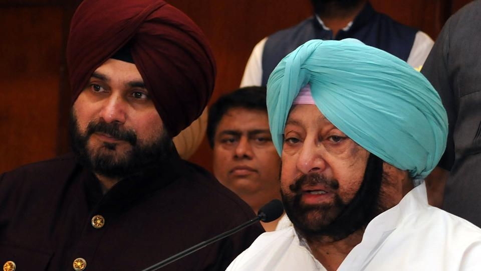 Chief minister Captain Amarinder Singh along with local bodies minister Navjot Sidhu addressing mediapersons at Jalandhar on Thursday.