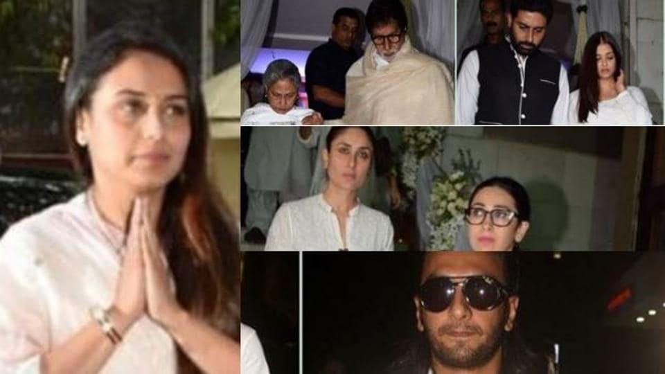 The prayer meet for Rani Mukerji's dad Ram Mukerji saw all the Bollywood celebs in attendance.