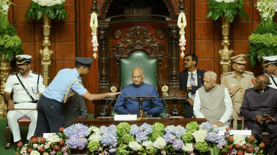 President Ramnath Kovind before his address to the joint session of State Legislature in Bengaluru.