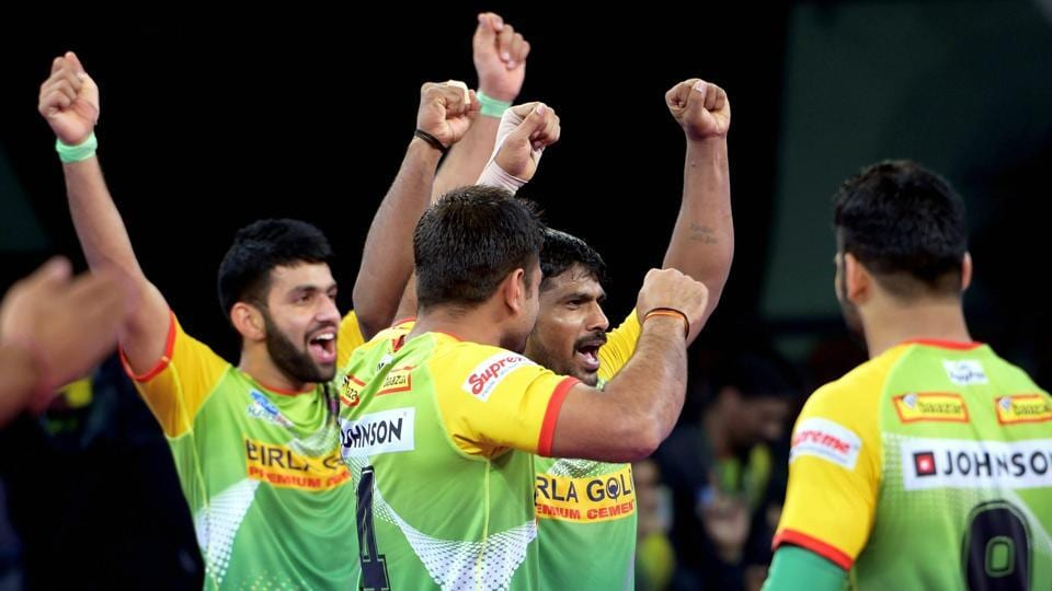 Patna Pirates players celebrate after their win against Bengal Warriors during their Pro Kabaddi League Qualifier 2 in Chennai on Thursday.
