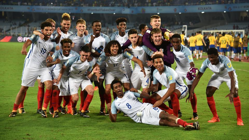 England players celebrate their win over Brazil in Wednesday's FIFA U-17 World Cup semi-final in Kolkata.