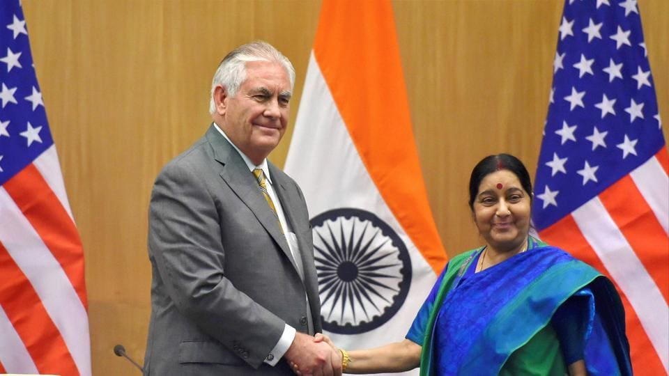 Minister for external affairs Sushma Swaraj (right) and US secretary of state Rex Tillerson, after their joint press conference, New Delhi, October 25