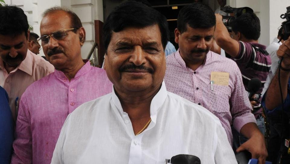 Shivpal Yadav comes out of the Vidhan Sabha House in Lucknow.