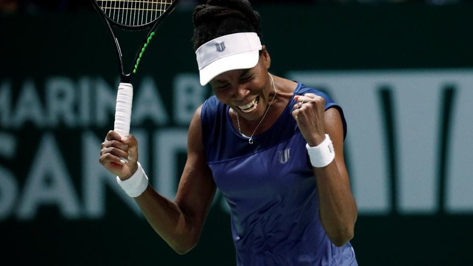 American tennis player Venus Williams reacts during her group stage match against Spain's Garbine Muguruza in Singapore on Thursday.