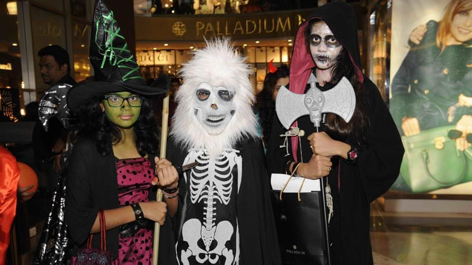 Revellers at a Halloween party in India.