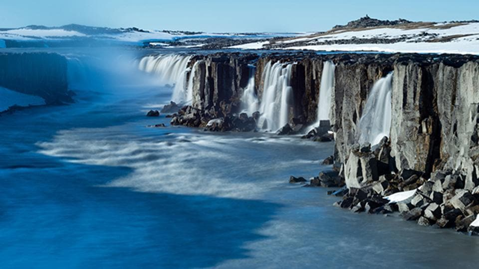 The breathtaking Dettifoss waterfall in Iceland.