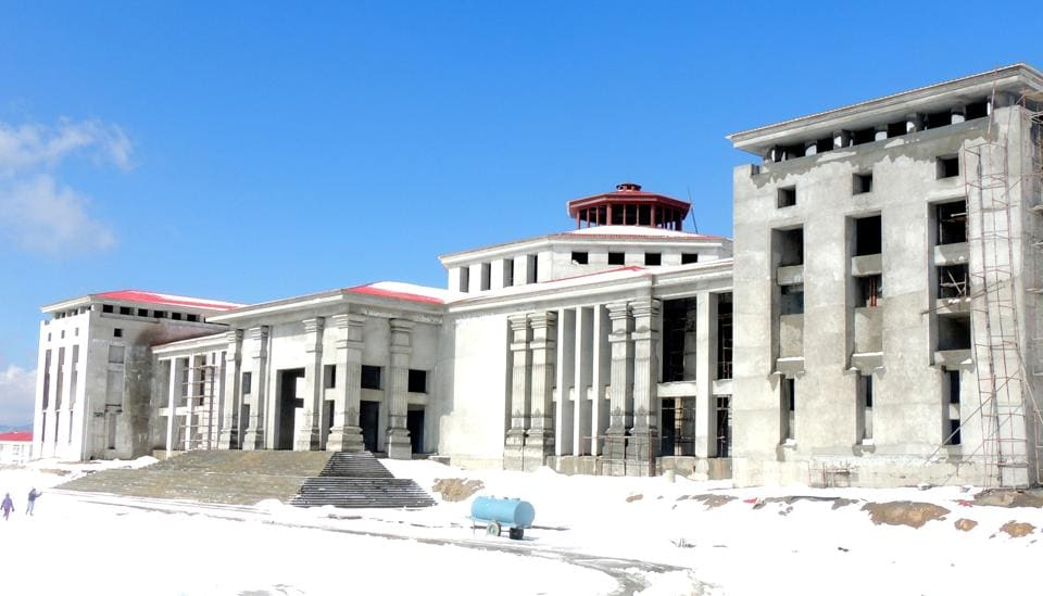 The Vidhan Sabha Bhawan coming up at Gairsain in Uttarakhand. Activists have long been demanding that Gairsain -- a centrally located hill town – be made a permanent capital of the state.