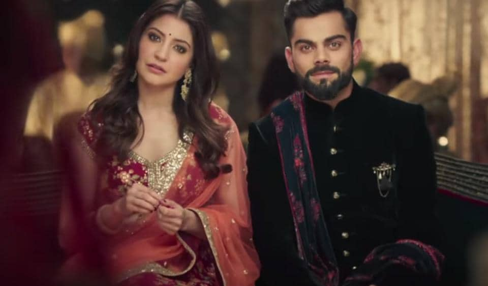 Several celebrity couples — actor Anushka Sharma and cricketer Virat Kohli (above); actors Rajkummar Rao and Patralekhaa; and actors Bipashu Basu and Karan Singh Grover — are starring in ad campaigns together. The real-life chemistry makes the ads sizzle.