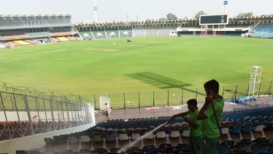 Workers clean the Gaddafi Stadium in Lahore ahead of Sunday's T20I clash between Pakistan and Sri Lanka. (AFP)