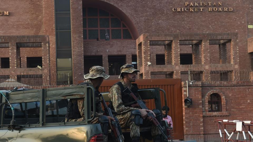 Pakistani soldiers patrol outside the Gaddafi Cricket Stadium, where the last T20 cricket match is scheduled between Pakistan and Sri Lanka, in Lahore on October 25, 2017. Pakistan will look to transfer the momentum from their one-day whitewash against Sri Lanka into the three Twenty20 internationals starting in Abu Dhabi on October 26 and ending in Lahore three days later. Off the field too, Pakistan will hope to build on their efforts to revive international cricket back home with the last match to be played in Lahore on October 29.