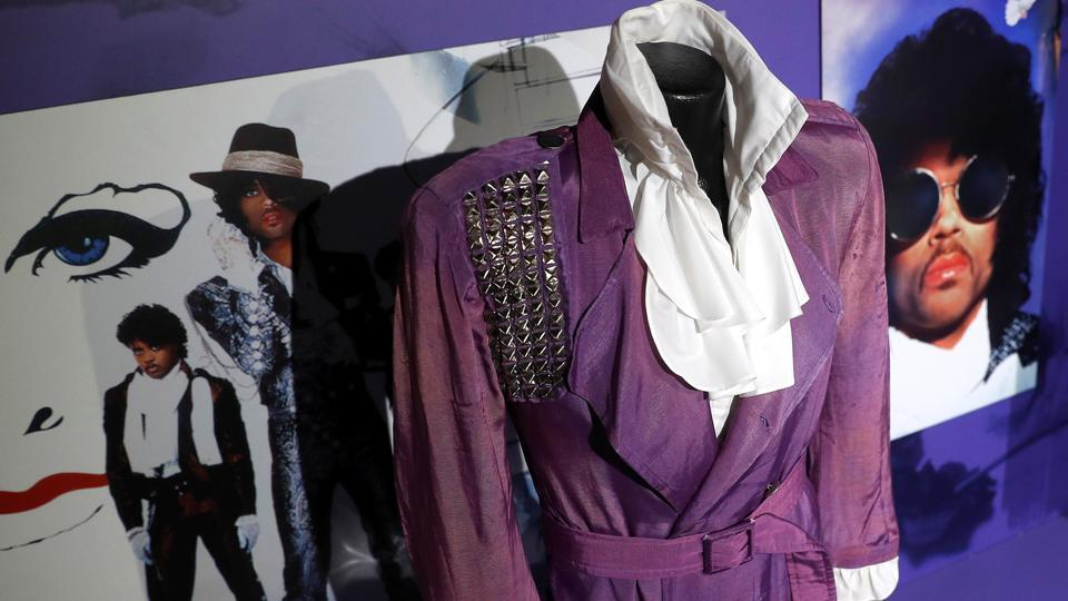 A costume from Prince's 'Purple Rain' era is seen on display at the 'My Name Is Prince' exhibition in London. An exhibition showcasing the life of pop legend Prince opened on Saturday, unveiling previously unseen treasures from his legendary Paisley Park studio complex. (Peter Nicholls / REUTERS)