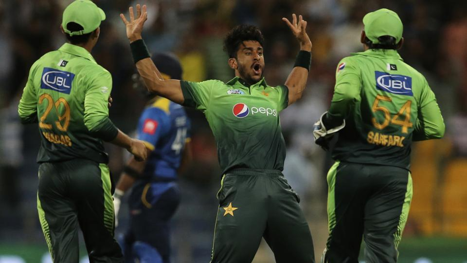 Pakistan's Hasan Ali celebrates dismissal of Sri Lanka's Sachith Pathirana during the first T20I in Abu Dhabi, United Arab Emirates. Ali finished with figures of 3-23 as Pakistan beat Sri Lanka and took a 1-0 lead in the three-match series.