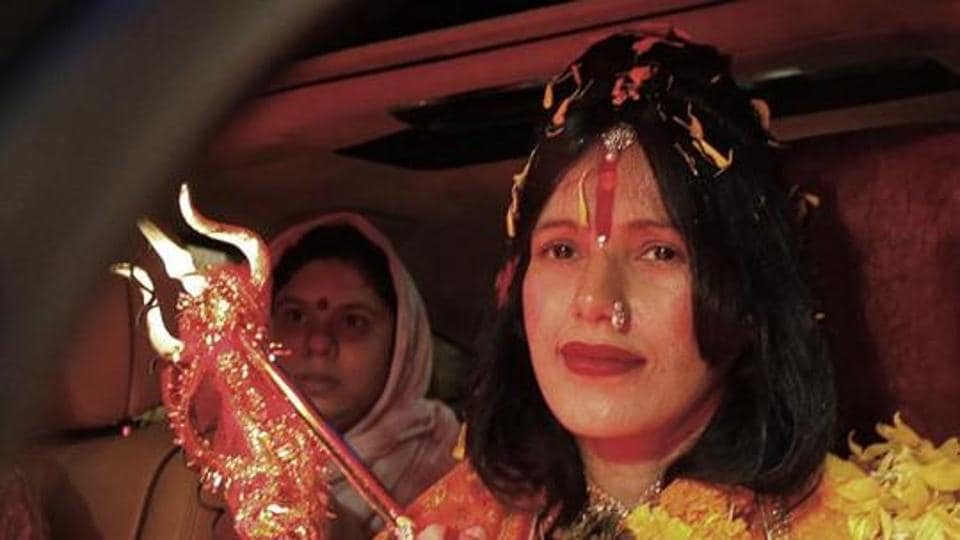 Radhe Maa, aka Sukhvinder Kaur, started calling herself a godwoman in her 20s. The mother of three is known to bless her devotees by dancing to Hindi movie songs and hugging and kissing them.