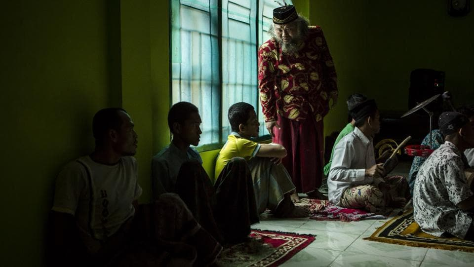 Recovering drug addicts learn Islamic music known as 'rebana' at the Nurul Ichsan Al Islami traditional rehabilitation centre in Purbalingga. (Ulet Ifansasti / Getty Images)
