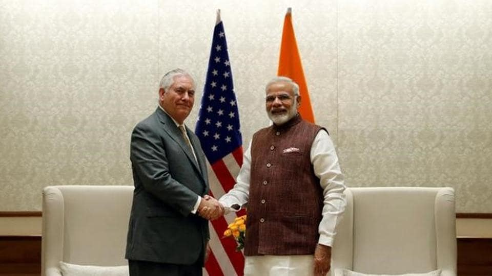 Prime Minister Narendra Modi with US secretary of state Rex Tillerson, New Delhi, India, October 25