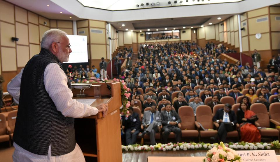 Prime Minister Narendra Modi addresses trainee IAS officers at the Lal Bahadur Shastri National Academy of Administration  in Mussoorie in Uttarakhand on Friday.