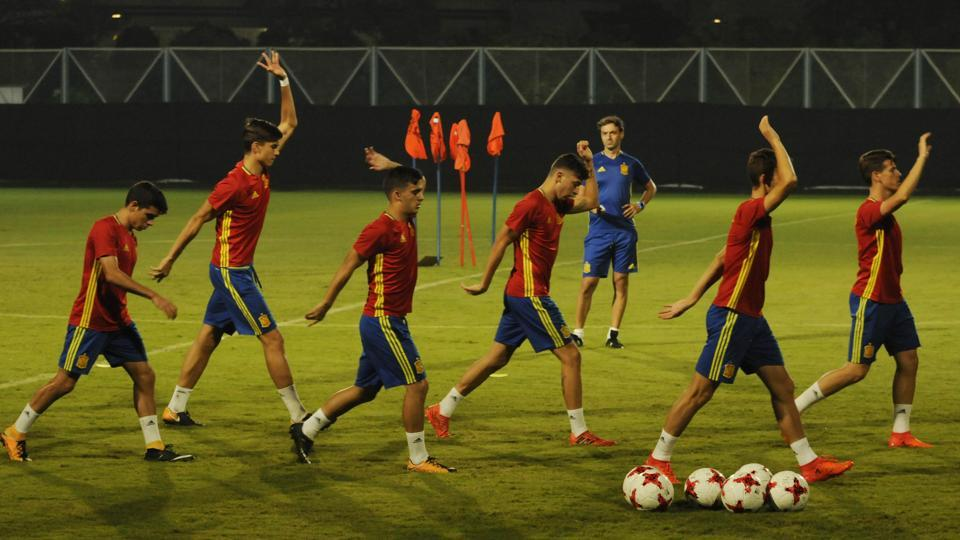 Spain players during a training session before their FIFA U-17 World Cup final against England at Salt Lake Stadium in Kolkata on Friday.