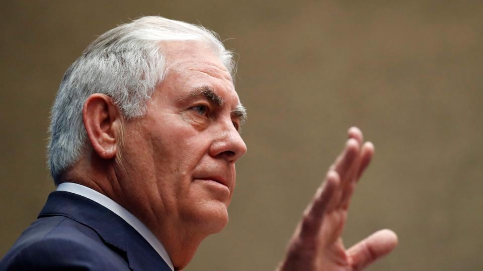 US Secretary of State Rex Tillerson pauses before speaking to staff members at the US Mission to the UN on October 26, 2017, in Geneva, Switzerland.