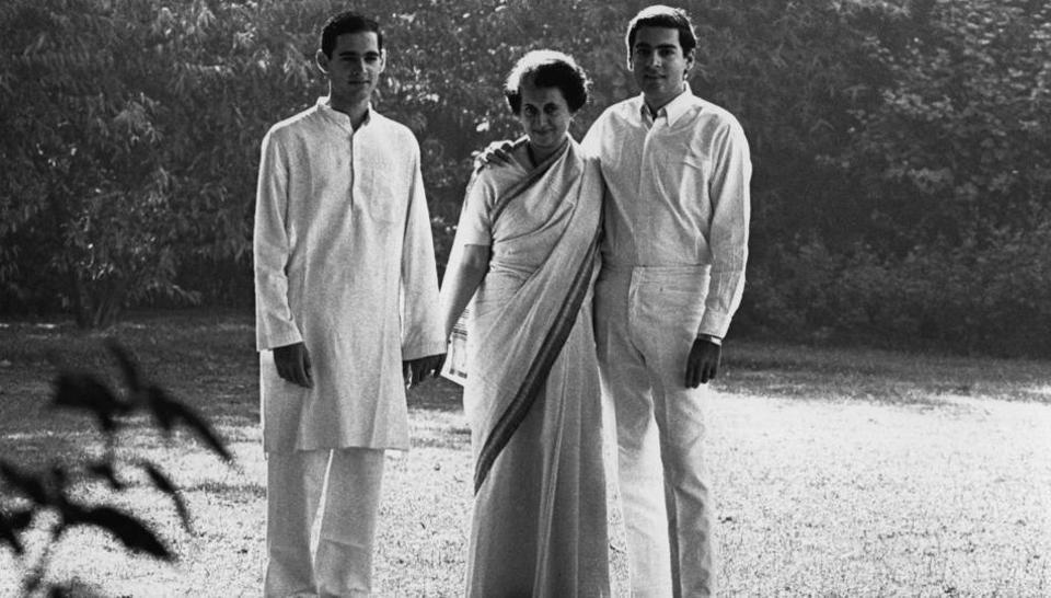 Former prime minister Indira Gandhi with her sons Rajiv Gandhi and Sanjay Gandhi.