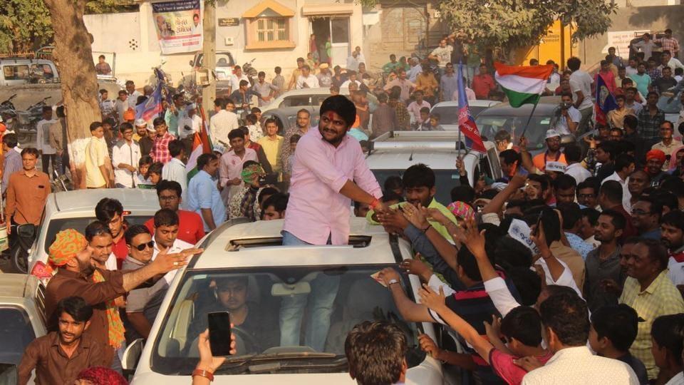 Patidar leader Hardik Patel at a rally in Botad on Wednesday.