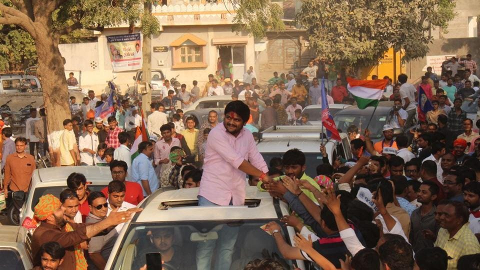 Patidar leader Hardik Patel at a rally in Botad on Wednesday.