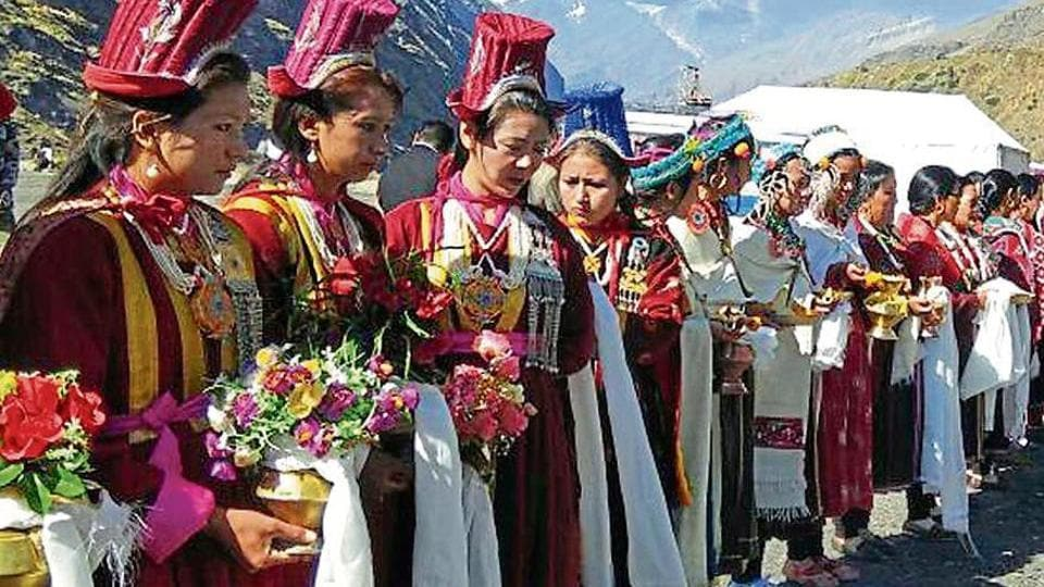 Women belonging to Lahaul and Spiti welcoming Tulku Lochen Lama, the head abbot of Key Monastery, at Sissu in Lahaul and Spiti on Friday.