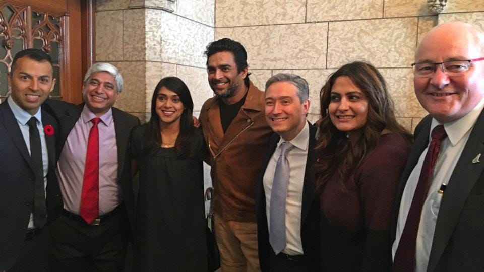 Actor Madhavan at Canada's Parliament, flanked by Indo-Canadian minister Bardish Chagger (third from left), Canadian minister of international trade Francois-Philippe Champagne (third from right), and Indian High Commissioner to Ottawa Vikas Swarup (second from left)