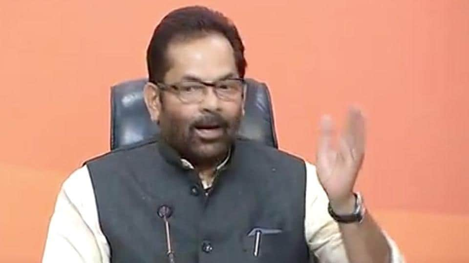 Union minister Mukhtar Abbas Naqvi during a press conference in New Delhi on Saturday.
