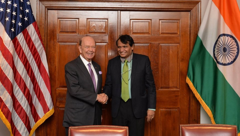 Union Commerce Minister Suresh Prabhu with his American counterpart Secretary of Commerce Wilbur Ross at the third US-India Commercial Dialogue in Washington.