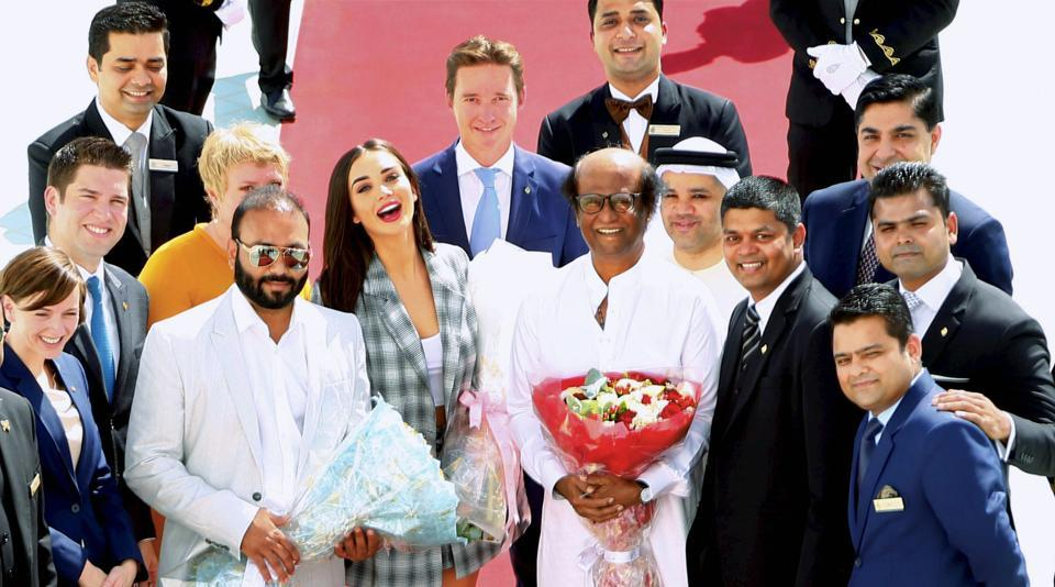 Rajinikanth and Amy Jackson arrive for the audio launch of their upcoming flick 2.0, at a grand function in Dubai on Thursday.