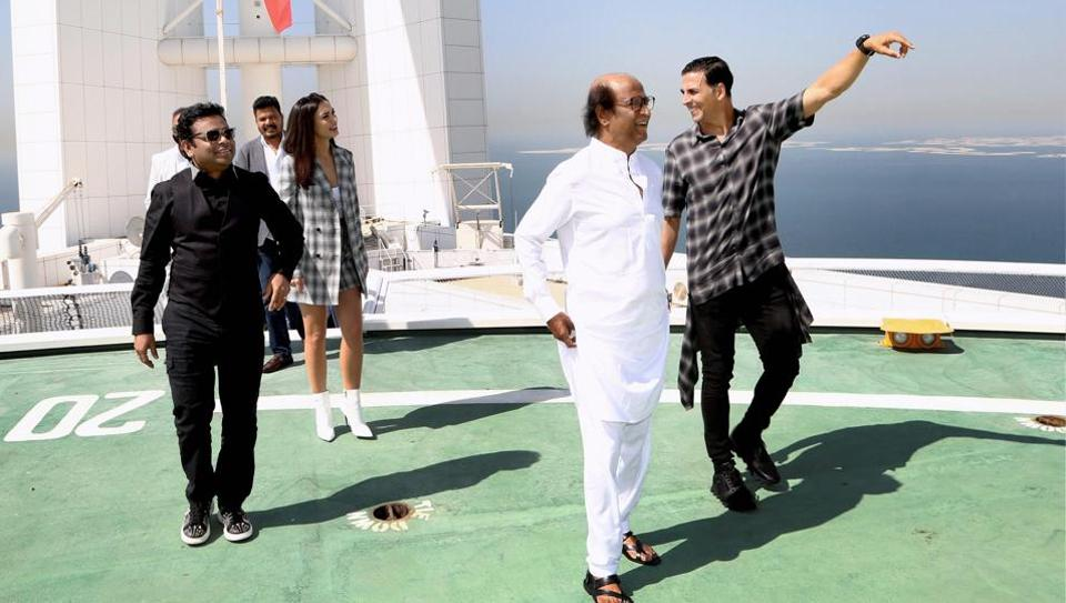 Tamil superstar Rajinikanth, Bollywood actors Amy Jackson, Akshay Kumar, director Shankar and Oscar award winning music composer A R Rahman arrive for the audio launch of upcoming flick 2.0, at a grand function in Dubai on Thursday.