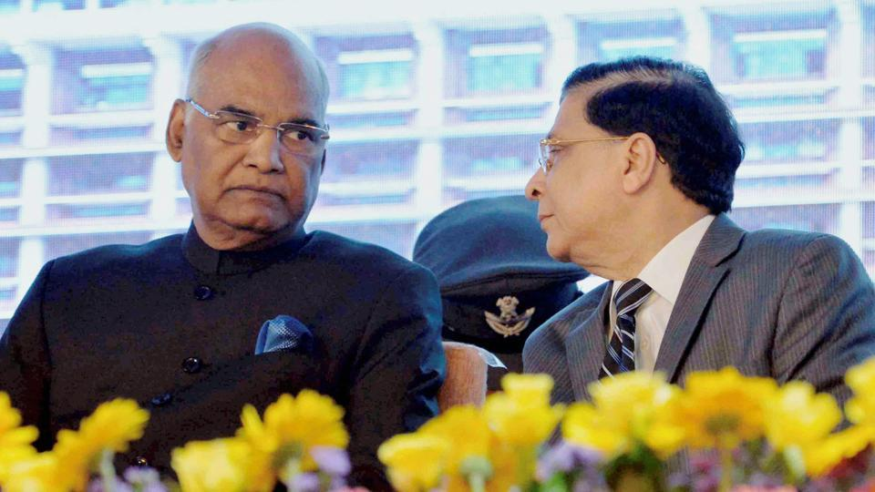President Ram Nath Kovind at a valedictory ceremony during the diamond jubilee celebration of Kerala high court in Kochi on Saturday.
