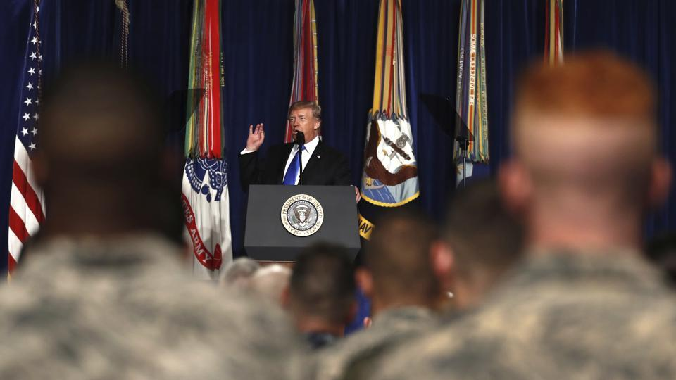 In this August 21, 2017, file photo, President Donald Trump speaks at Fort Myer in Arlington Va., about US strategy in Afghanistan.