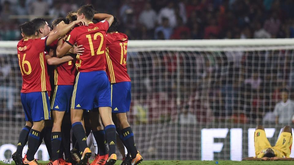 Spain celebrate after winning their semi-final match against Mali during the FIFA U-17 World Cup at the DY Patil stadium in Navi Mumbai. Spain will face England in the final at Kolkata.