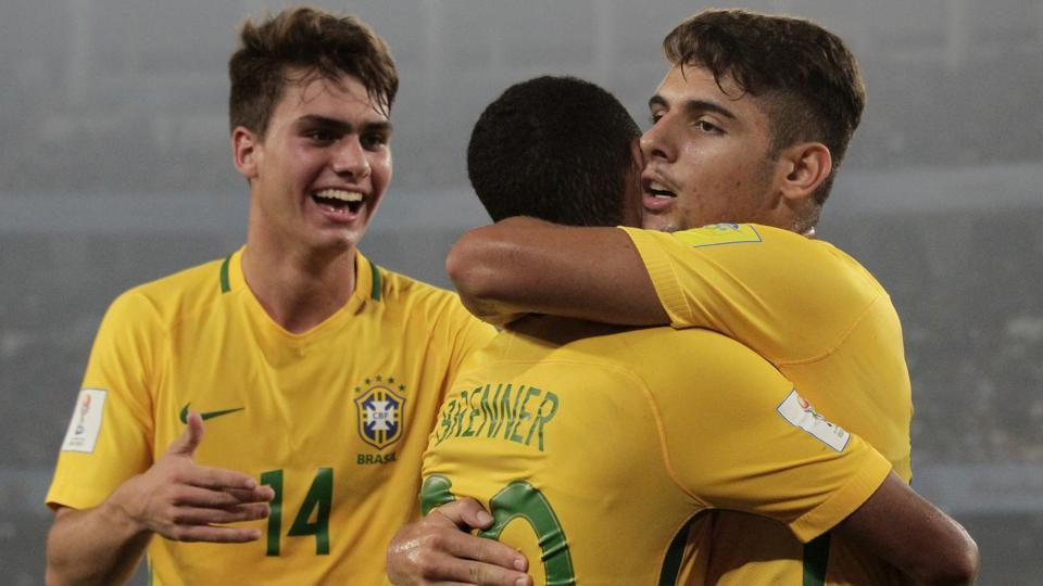 Brazil's Yuri Alberto, right, celebrates with teammates after scoring a goal during the FIFA U-17 World Cup match against Mali.