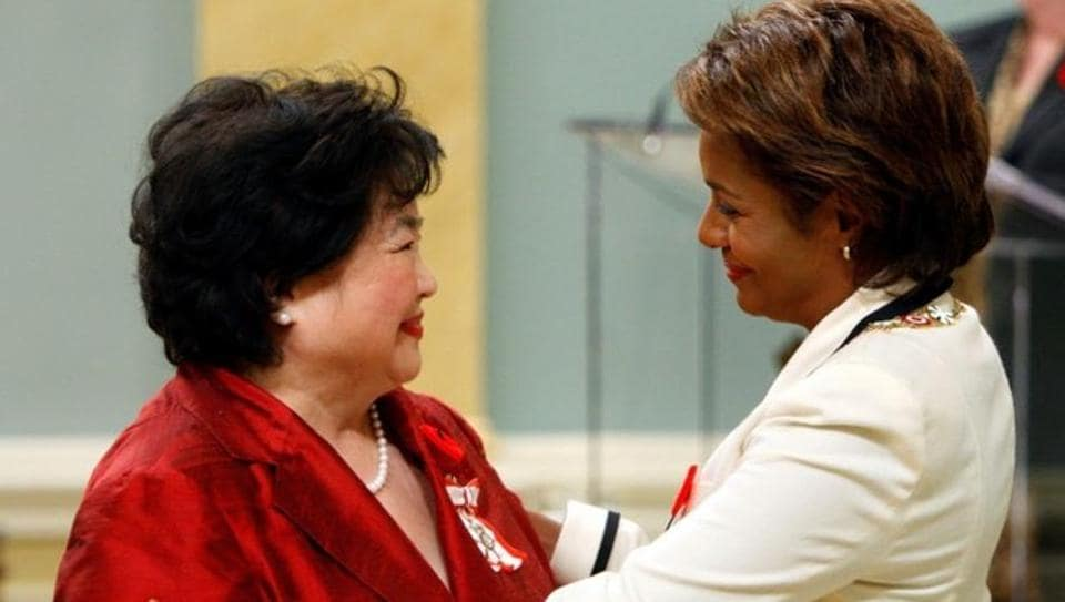 Setsuko Thurlow, a survivor of the Hiroshima atomic bombing, is congratulated after being awarded the rank of Member in the Order of Canada by Governor General Michaelle Jean at Rideau Hall in Ottawa October 26, 2007.