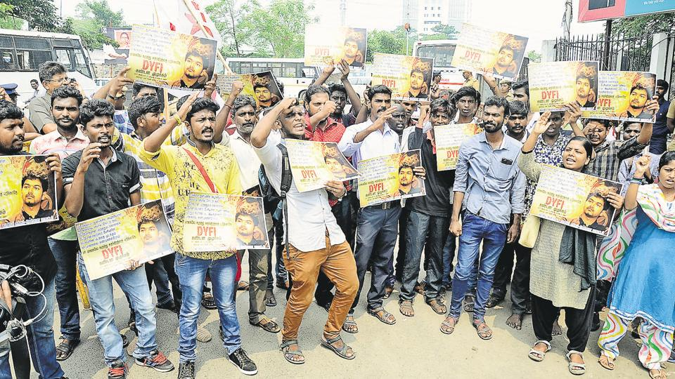 A rally in support of the film Mersal that was targeted because it was critical of some government schemes.