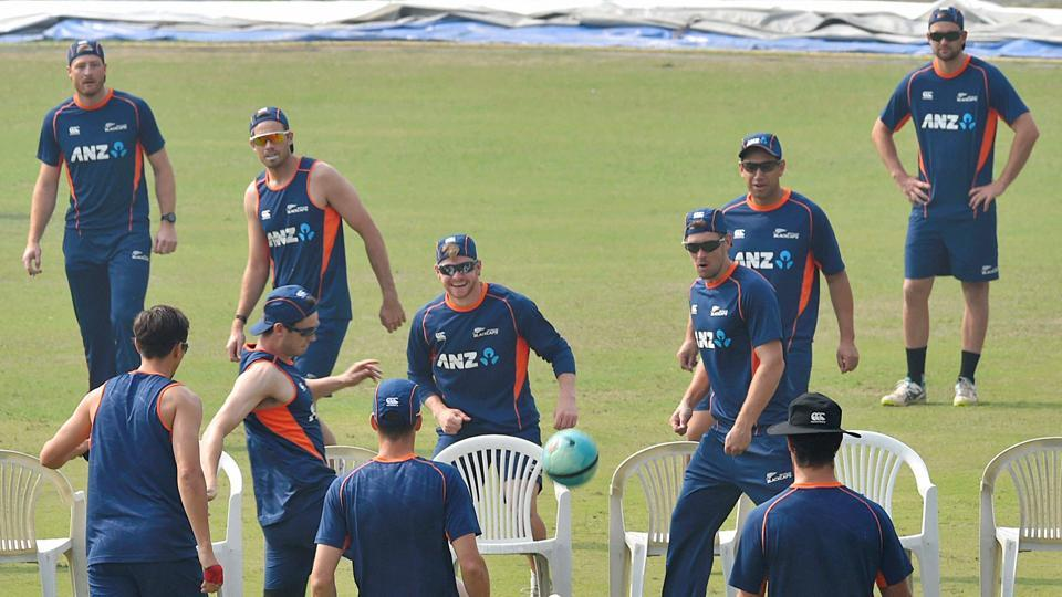 New Zealand players during a practice session ahead of the third ODI. If the Kiwis win on Sunday, this would be their first ever bilateral ODI series win in India.  (PTI)