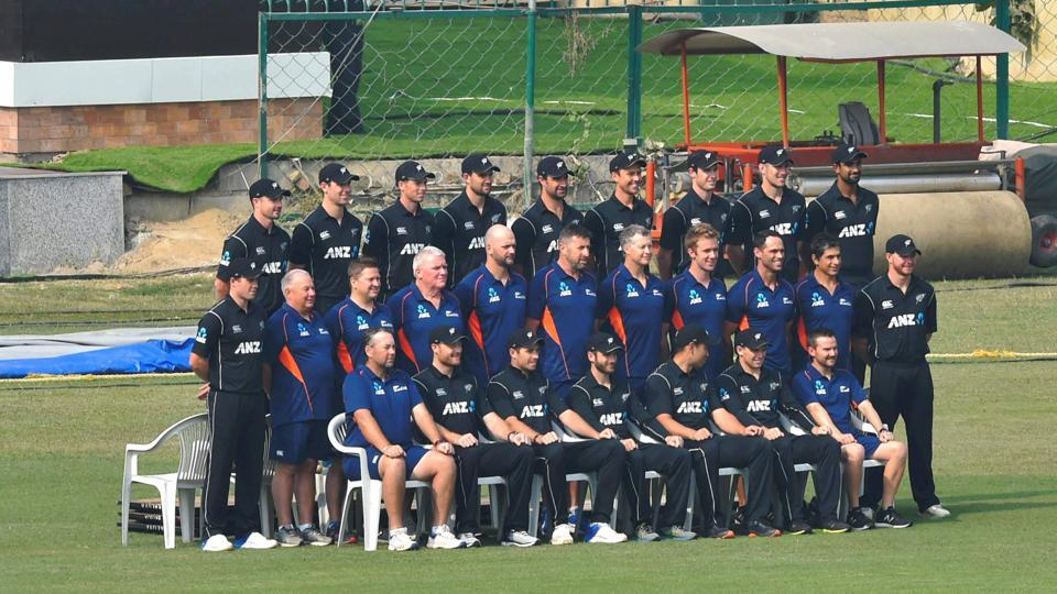 New Zealand players, along with the officials, pose for a group photo.  (PTI)