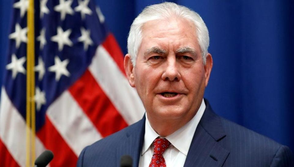 US Secretary of State Rex Tillerson speaks at the US Mission to the U.N. in Geneva, October 26, 2017.