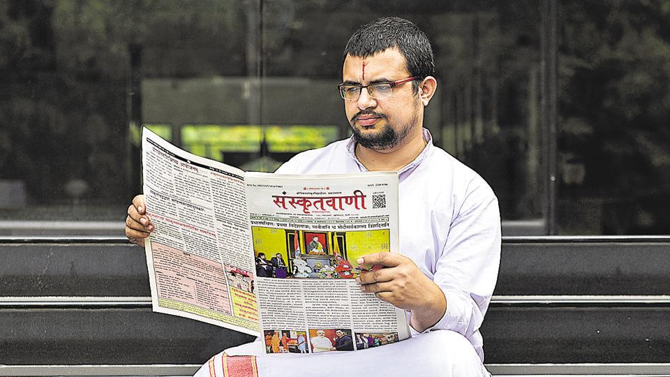 Jeevan Sharma, editor of Sanskrit Vani.