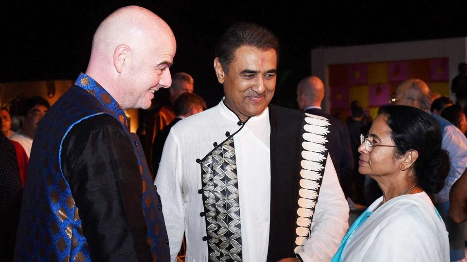 West Bengal Chief Minister Mamata Banerjee with FIFA President Gianni Infantino and AIFF President Praful Patel during a dinner party in Kolkata on Friday.
