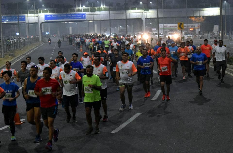 Gurgaon police commissioner Sandeep Khirwar inaugurated the marathon and gave away the medals to the winners as well as participants.