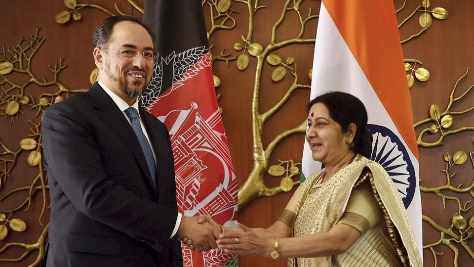 External affairs minister Sushma Swaraj and her Afghan counterpart Salahuddin Rabbani flagged off the shipment of wheat from India to Afghanistan through video conferencing.